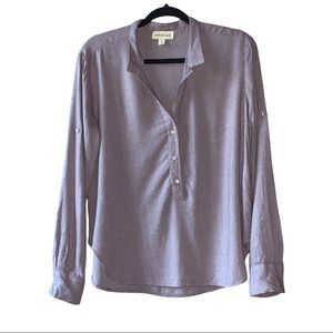 Cloth & Stone soft rayon button roll tab blouse. S